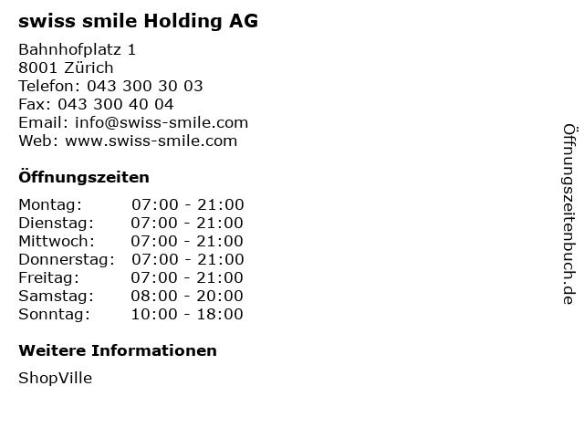 swiss smile Holding AG in Zürich: Adresse und Öffnungszeiten