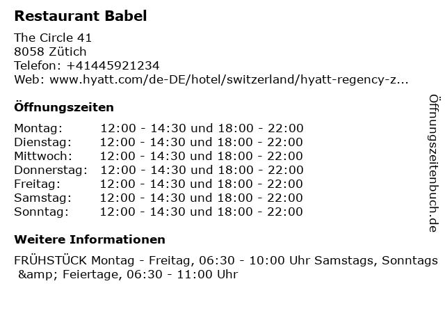Restaurant Babel in Zütich: Adresse und Öffnungszeiten