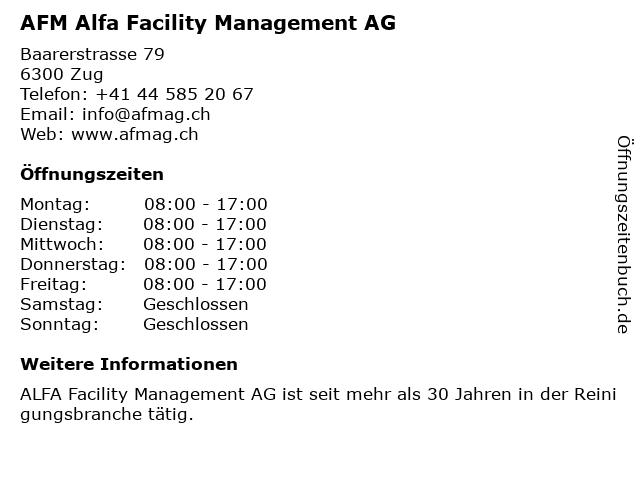 AFM Alfa Facility Management AG in Zug: Adresse und Öffnungszeiten