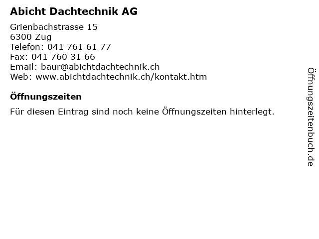 Abicht Dachtechnik AG in Zug: Adresse und Öffnungszeiten