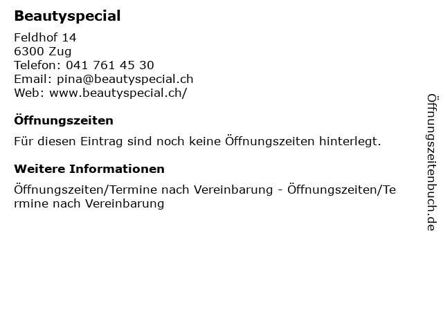 Beautyspecial in Zug: Adresse und Öffnungszeiten