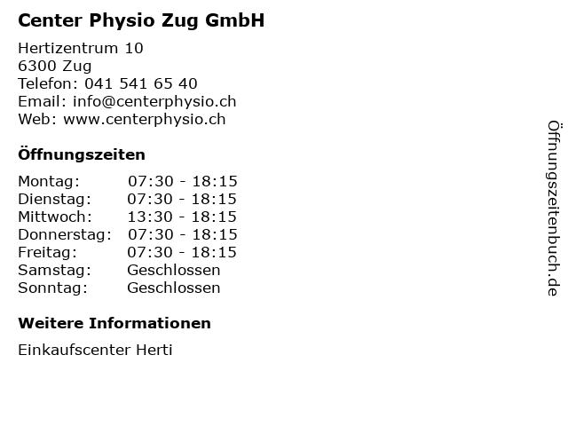 Center Physio Zug GmbH in Zug: Adresse und Öffnungszeiten