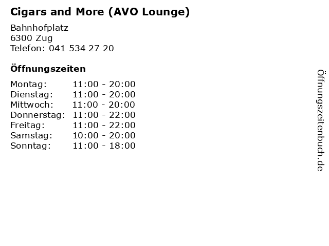 Cigars and More (AVO Lounge) in Zug: Adresse und Öffnungszeiten