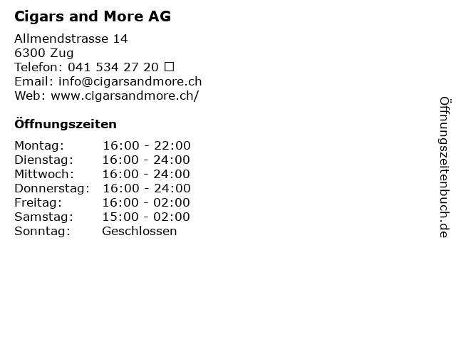 Cigars and More AG in Zug: Adresse und Öffnungszeiten