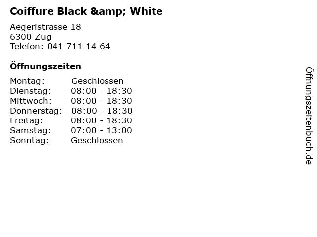ᐅ Offnungszeiten Coiffure Black White Aegeristrasse 18 In Zug