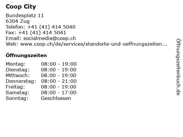 Coop City in Zug: Adresse und Öffnungszeiten