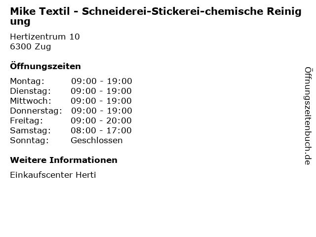 Mike Textil - Schneiderei-Stickerei-chemische Reinigung in Zug: Adresse und Öffnungszeiten