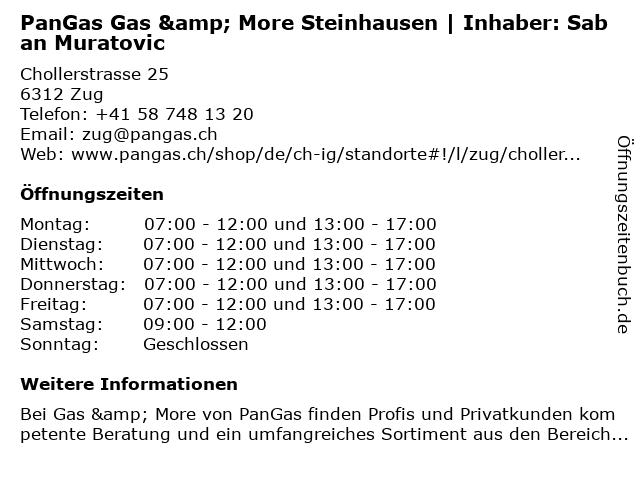 PanGas Gas & More Steinhausen   Inhaber: Christian Frei in Zug: Adresse und Öffnungszeiten