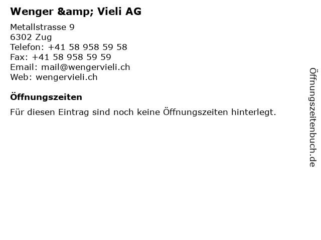 Wenger & Vieli AG in Zug: Adresse und Öffnungszeiten