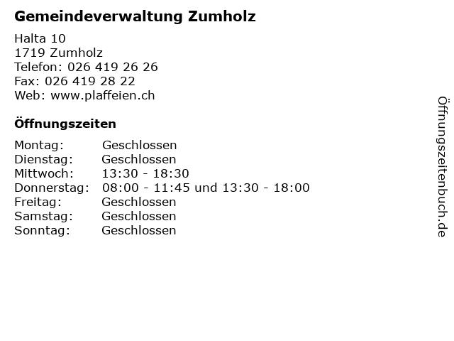 Gemeindeverwaltung Zumholz in Zumholz: Adresse und Öffnungszeiten