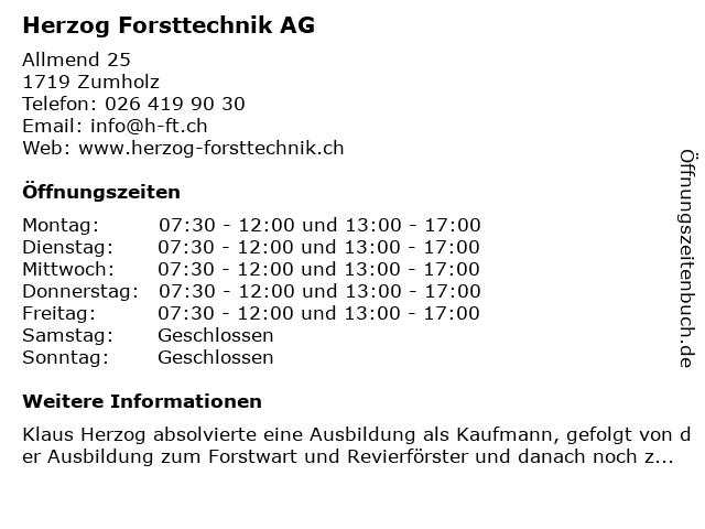 Herzog Forsttechnik AG in Zumholz: Adresse und Öffnungszeiten
