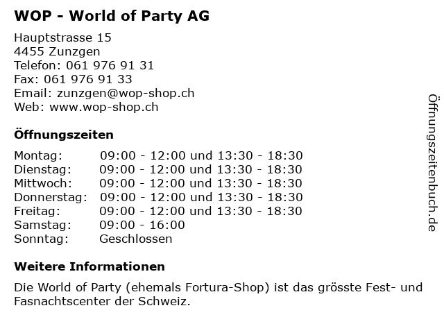 WOP - World of Party AG in Zunzgen: Adresse und Öffnungszeiten