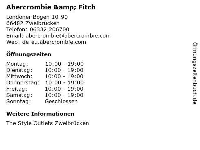 Abercrombie & Fitch in Zweibrücken: Adresse und Öffnungszeiten