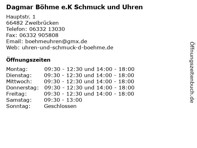 Dagmar Böhme e.K Schmuck und Uhren in Zweibrücken: Adresse und Öffnungszeiten