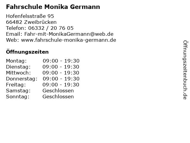 Fahrschule Monika Germann in Zweibrücken: Adresse und Öffnungszeiten