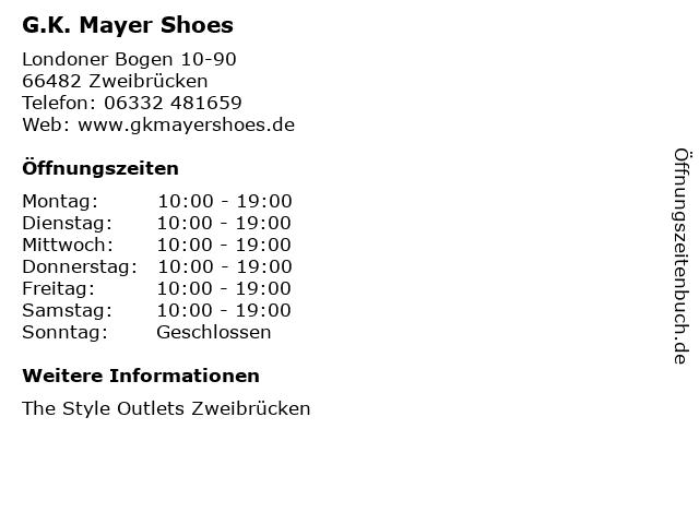 ᐅ öffnungszeiten Gk Mayer Shoes Londoner Bogen 10 90 In
