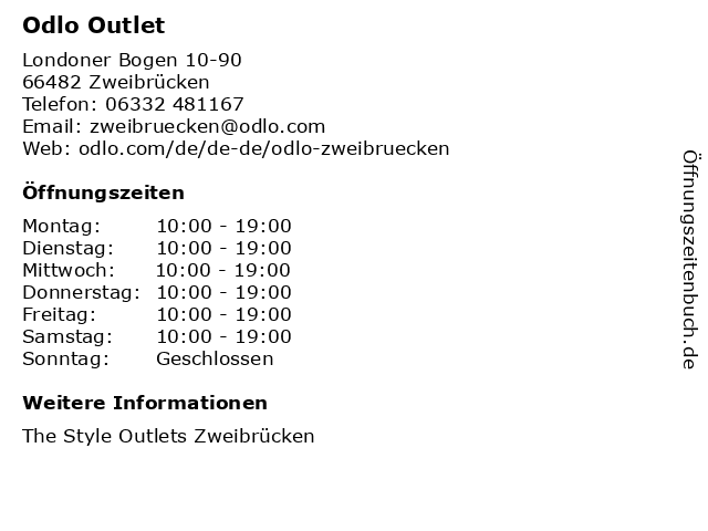 Odlo Outlet in Zweibrücken: Adresse und Öffnungszeiten