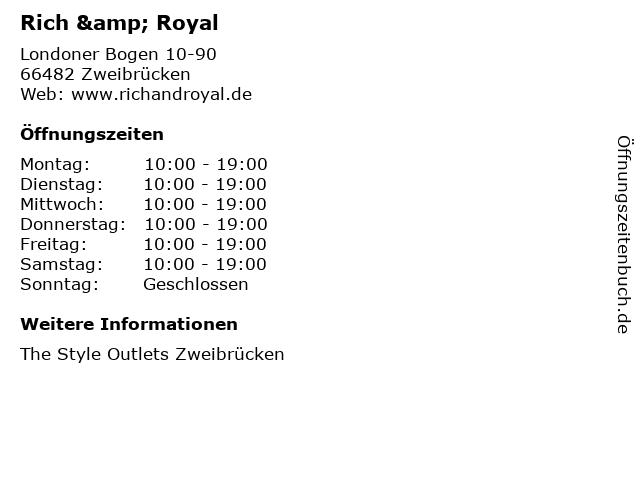 Rich & Royal in Zweibrücken: Adresse und Öffnungszeiten
