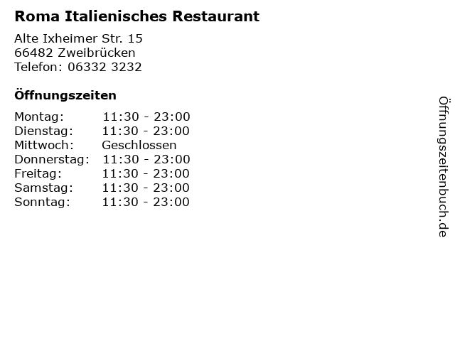 Roma Italienisches Restaurant in Zweibrücken: Adresse und Öffnungszeiten