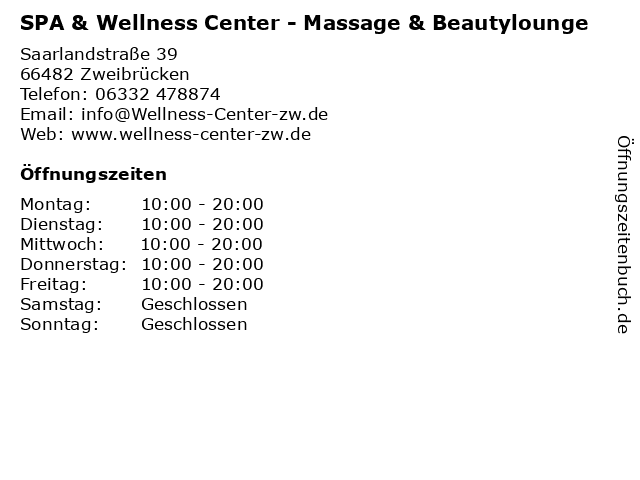 SPA & Wellness Center in Zweibrücken: Adresse und Öffnungszeiten