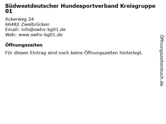 Südwestdeutscher Hundesportverband Kreisgruppe 01 in Zweibrücken: Adresse und Öffnungszeiten