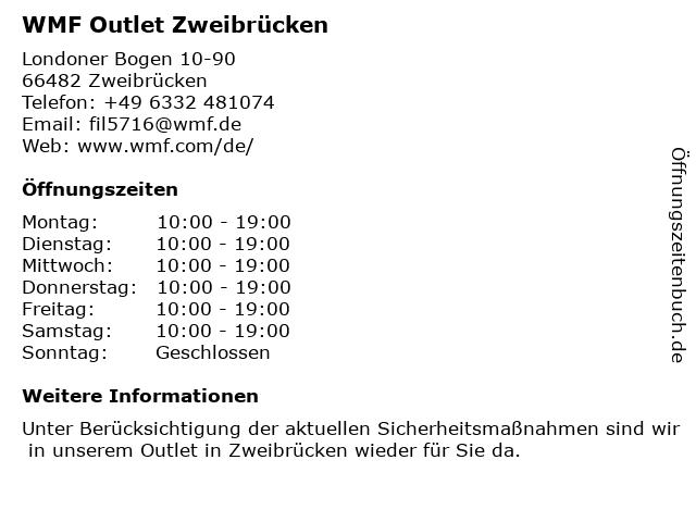 WMF Outlet Zweibrücken in Zweibrücken: Adresse und Öffnungszeiten