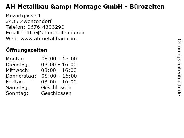 AH Metallbau & Montage GmbH - Bürozeiten in Zwentendorf: Adresse und Öffnungszeiten