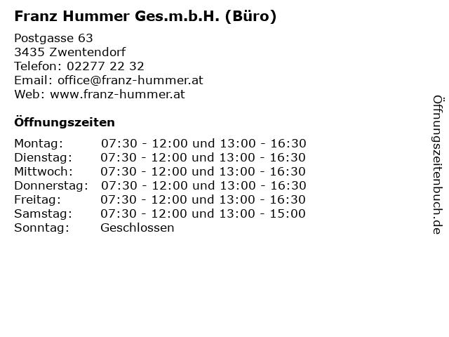 Franz Hummer Ges.m.b.H. (Büro) in Zwentendorf: Adresse und Öffnungszeiten