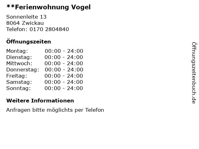 **Ferienwohnung Vogel in Zwickau: Adresse und Öffnungszeiten