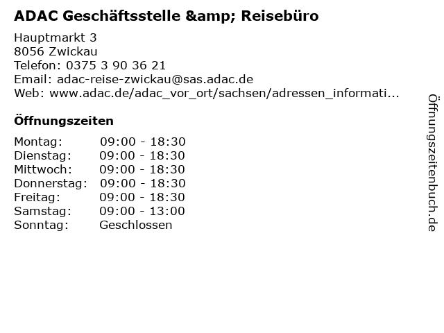 ADAC Geschäftsstelle & Reisebüro in Zwickau: Adresse und Öffnungszeiten