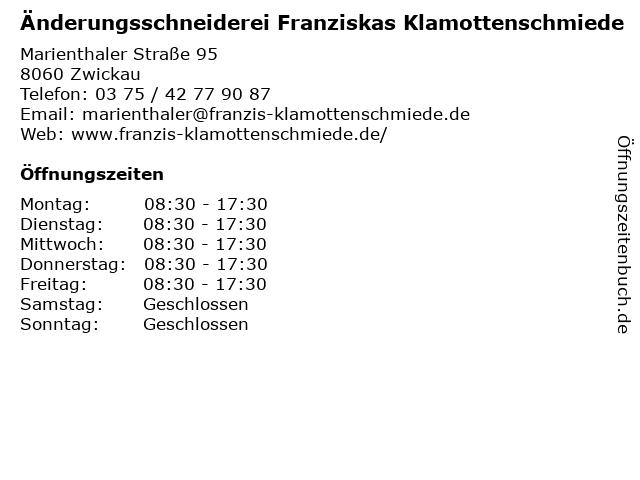 Änderungsschneiderei Franziskas Klamottenschmiede in Zwickau: Adresse und Öffnungszeiten