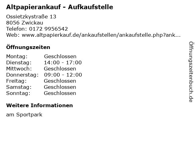 Altpapierankauf - Aufkaufstelle in Zwickau: Adresse und Öffnungszeiten