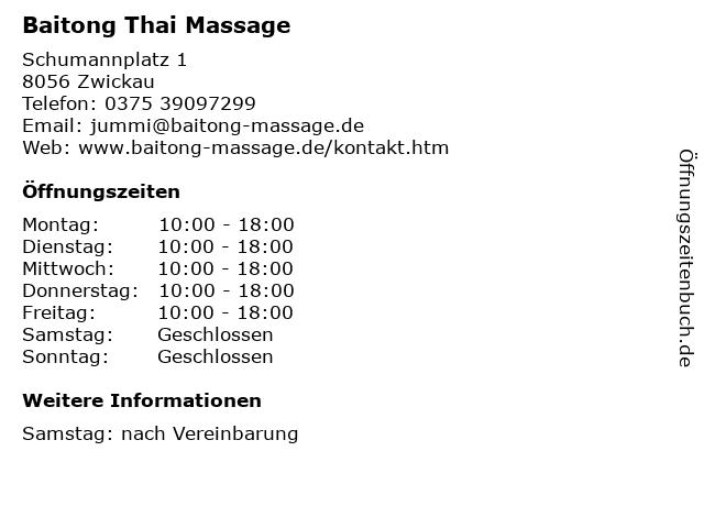 Baitong Thai Massage in Zwickau: Adresse und Öffnungszeiten