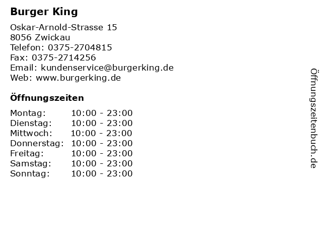 Burger King Restaurant in Zwickau: Adresse und Öffnungszeiten