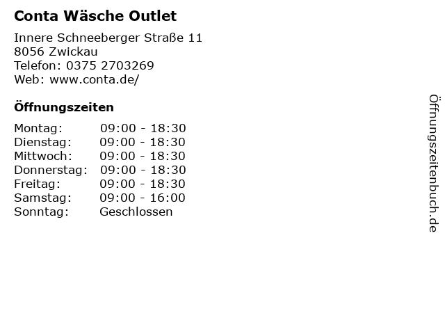 Conta Wäsche Outlet in Zwickau: Adresse und Öffnungszeiten