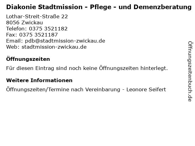 Diakonie Stadtmission - Pflege - und Demenzberatung in Zwickau: Adresse und Öffnungszeiten