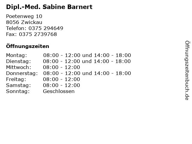 Dipl.-Med. Sabine Barnert in Zwickau: Adresse und Öffnungszeiten