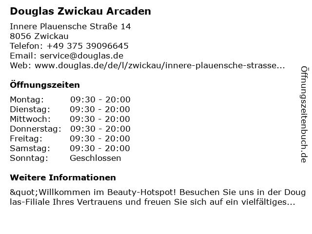 Parfümerie Douglas Zwickau in Zwickau: Adresse und Öffnungszeiten
