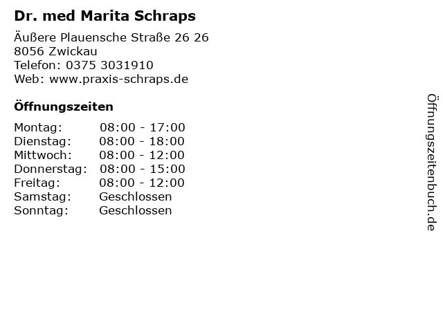 Dr. med Marita Schraps in Zwickau: Adresse und Öffnungszeiten