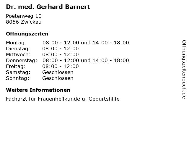 Dr. med. Gerhard Barnert in Zwickau: Adresse und Öffnungszeiten