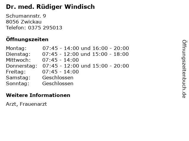 Dr. med. Rüdiger Windisch in Zwickau: Adresse und Öffnungszeiten