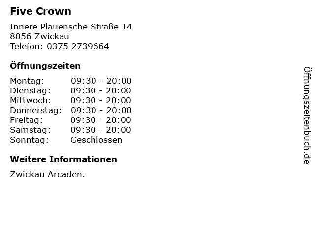 Five Crown in Zwickau: Adresse und Öffnungszeiten