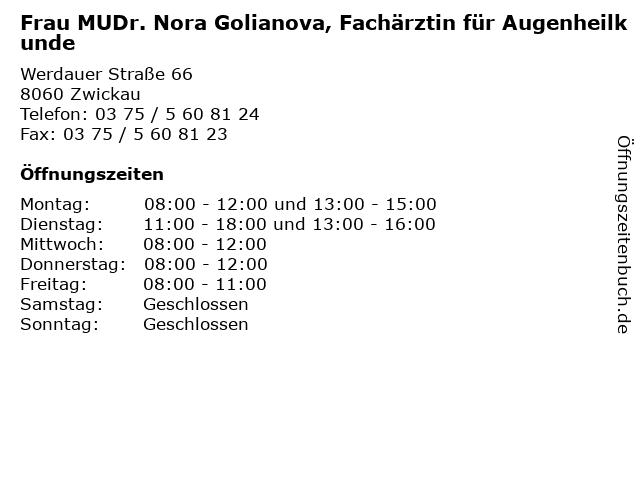 Frau MUDr. Nora Golianova, Fachärztin für Augenheilkunde in Zwickau: Adresse und Öffnungszeiten