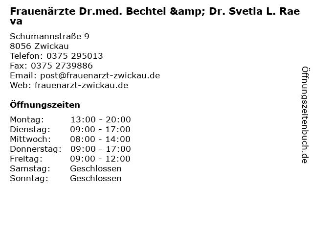 Frauenärzte Dr.med. Bechtel & Dr. Svetla L. Raeva in Zwickau: Adresse und Öffnungszeiten