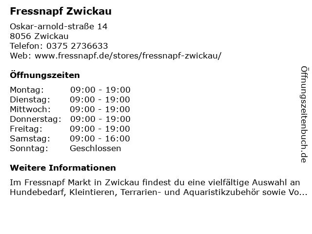 Fressnapf Zwickau in Zwickau: Adresse und Öffnungszeiten