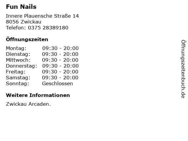 Fun Nails in Zwickau: Adresse und Öffnungszeiten