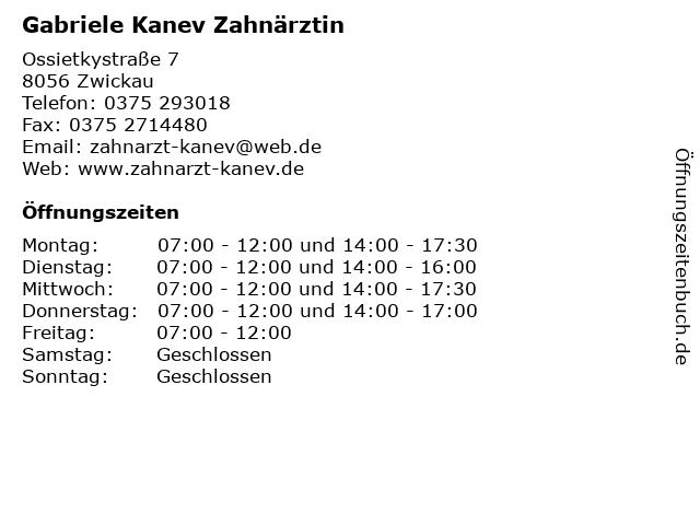 Gabriele Kanev Zahnärztin in Zwickau: Adresse und Öffnungszeiten