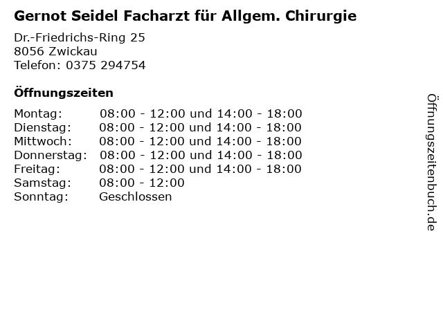 Gernot Seidel Facharzt für Allgem. Chirurgie in Zwickau: Adresse und Öffnungszeiten