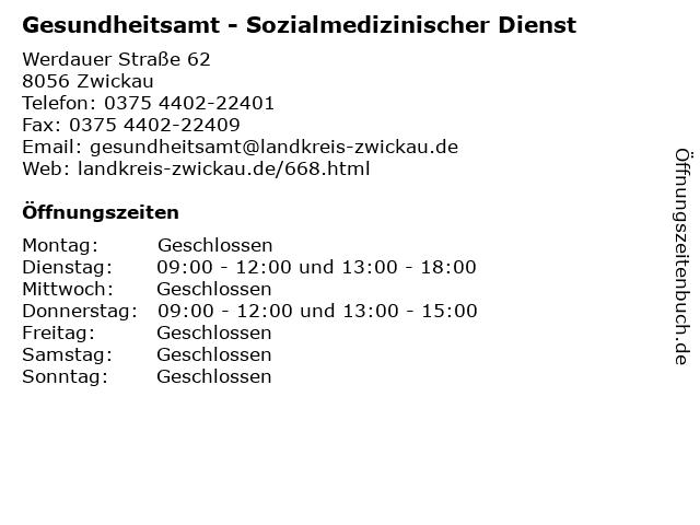 Gesundheitsamt - Sozialmedizinischer Dienst in Zwickau: Adresse und Öffnungszeiten