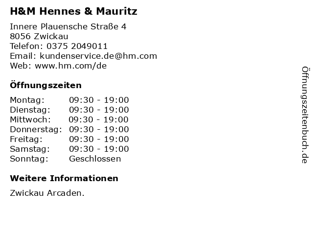 H&M Hennes & Mauritz in Zwickau: Adresse und Öffnungszeiten